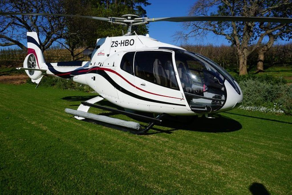 helicopter in winelands farm