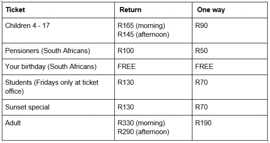 check-table-mountain-prices