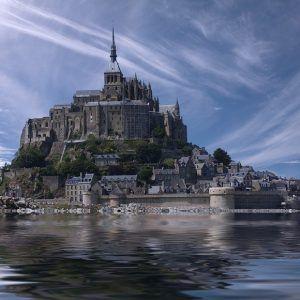 Mont-Saint-Michel over water