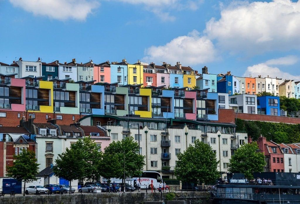 Colourful houses on a hill in Bristol, England