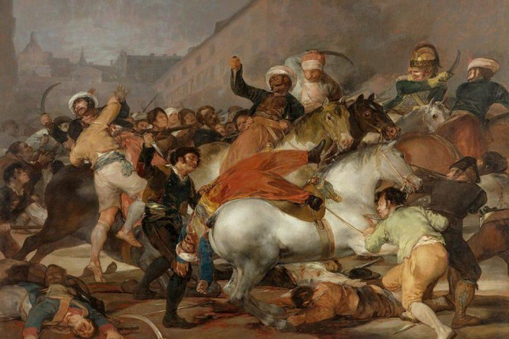 A detailed oil painting featuring horses and men in battle