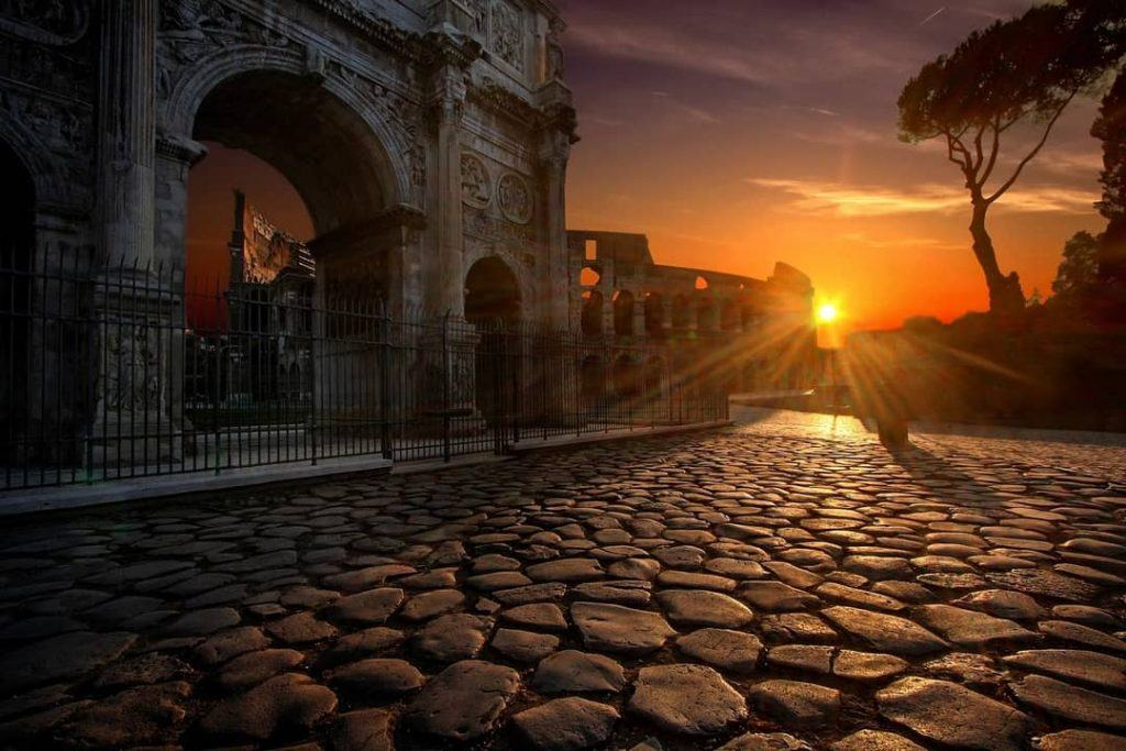 Sunset over the Colosseum
