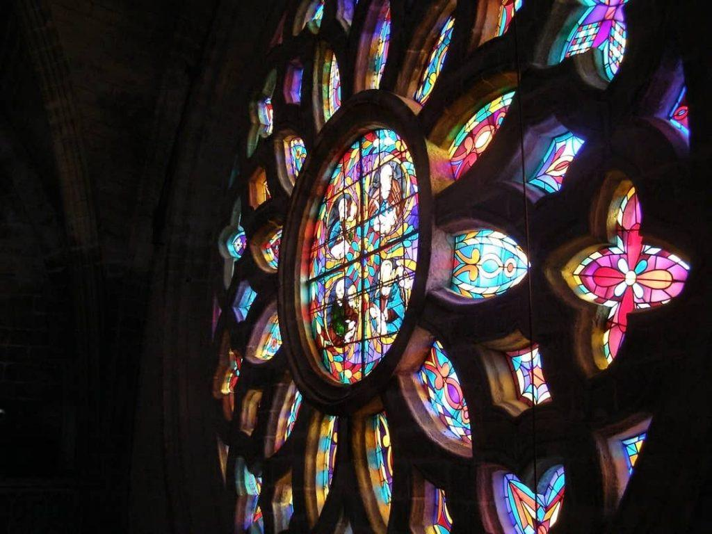Stain glass window inside the cathedral