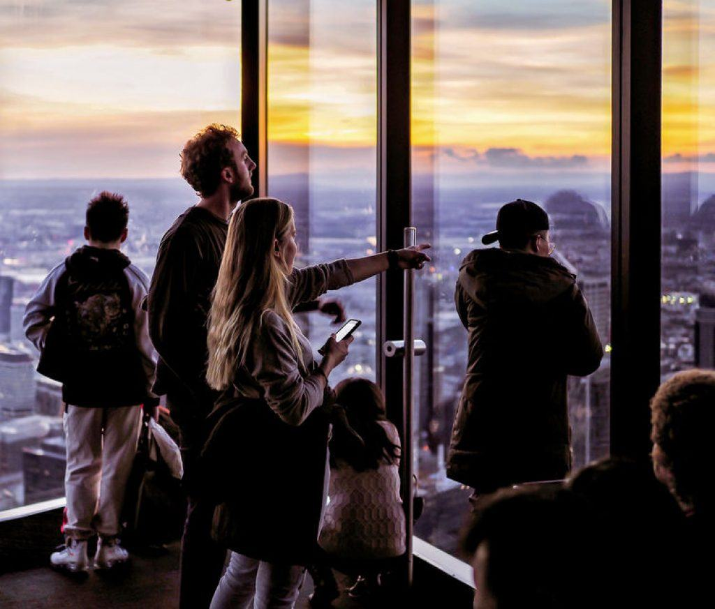 View from eureka tower at sunset, with clouds on the horizon