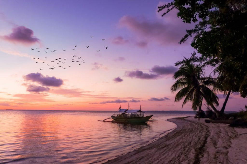 sunset in the philippines islands