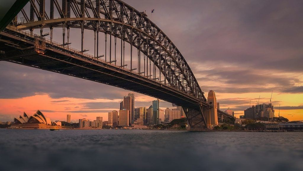 Sydney Harbour Bridge in the evening
