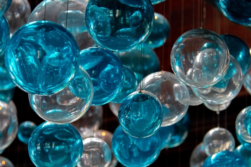blue glass balls