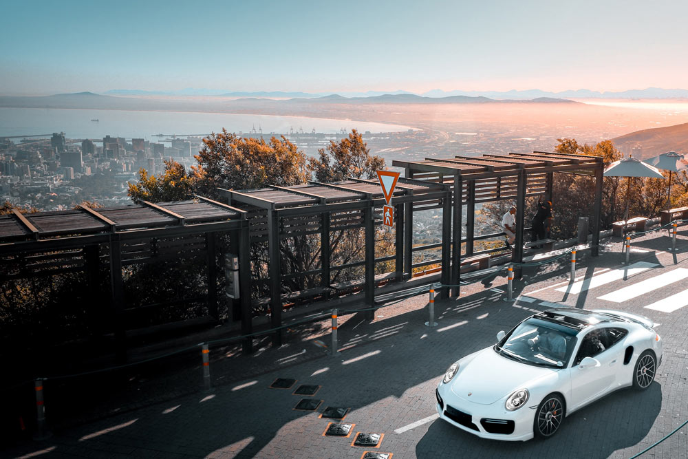 Porsche on Table Mountain Road at sunrise