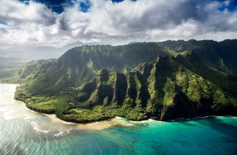 green mountains and blue ocean surrounding island of hawaii