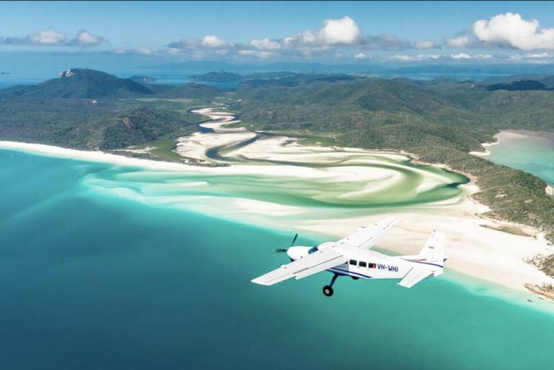 scenic flight over whitehaven beach