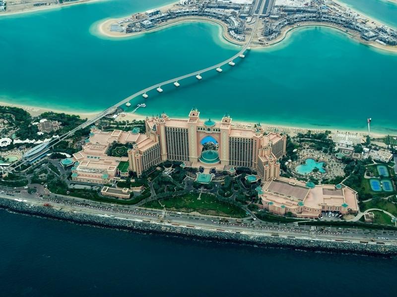 Atlantis in Dubai from the air