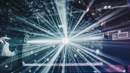 Disco ball and strobe light effects inside of a nightclub