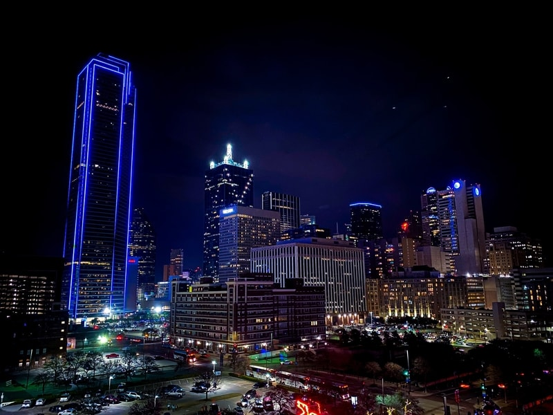 Downtown city view of Dallas, Texas at night