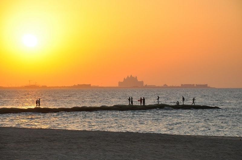 Dubai beach sunset, United Arab Emirates