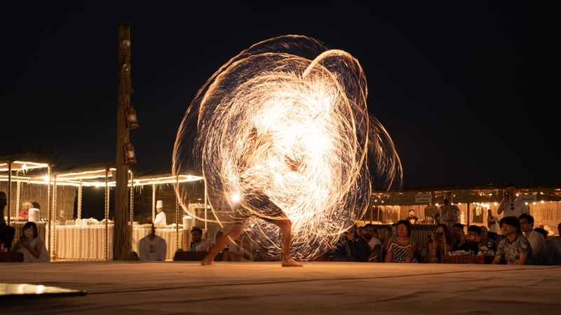 Light show performance at night in Dubai