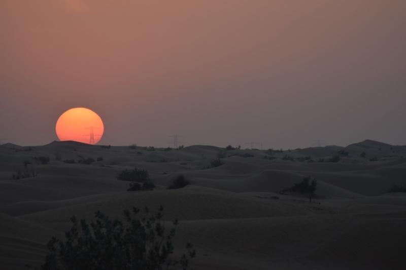 Sunset from a desert in Dubai