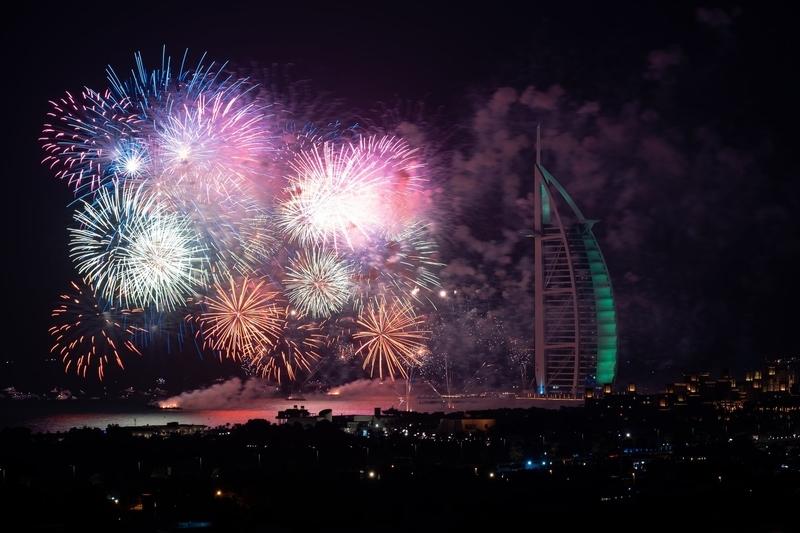 Fireworks in Dubai at night