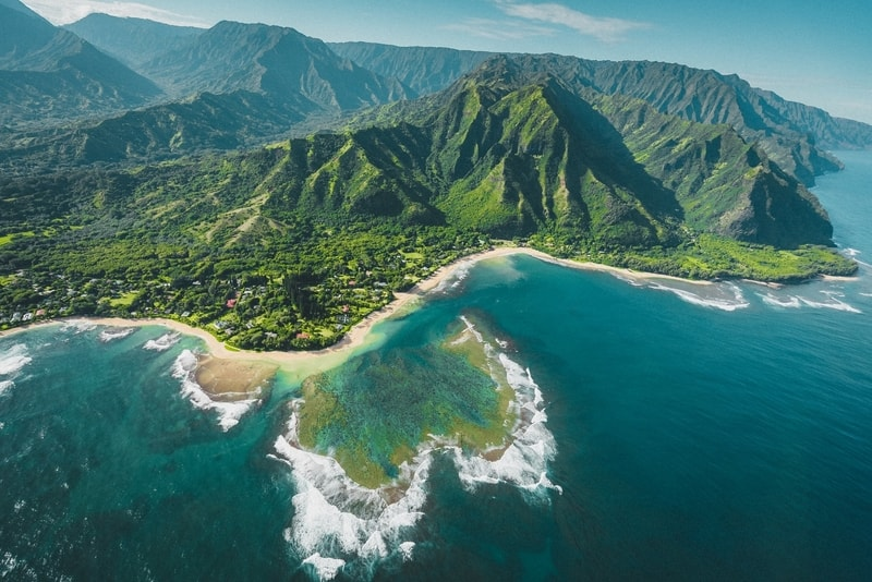 An aerial view of the Kauai shorelines in Hawaii