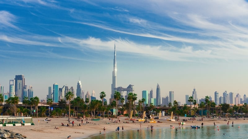 La Mer Beach in Dubai with Dubai skyline in the background