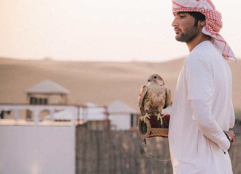 Man holding Falcon in Dubai