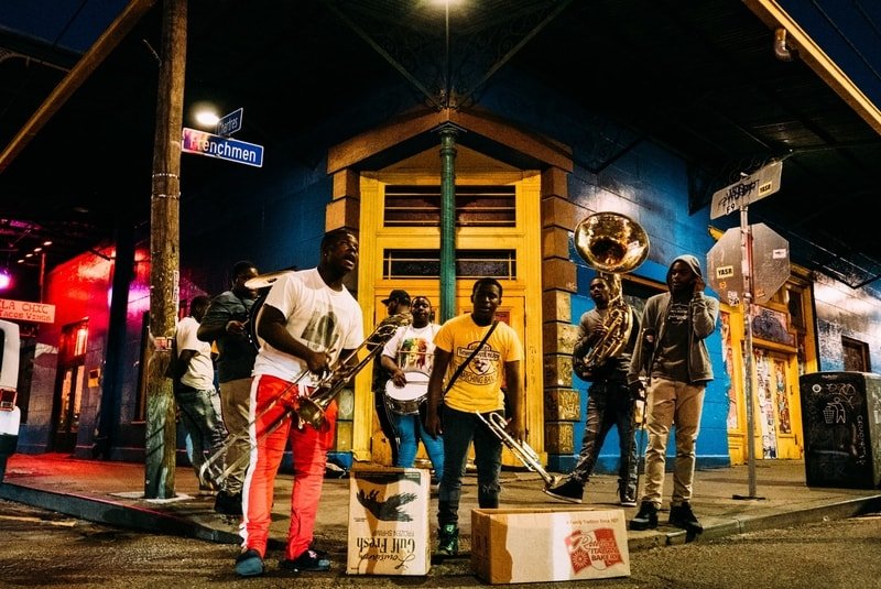 Buskers performing on the main street of New Orleans