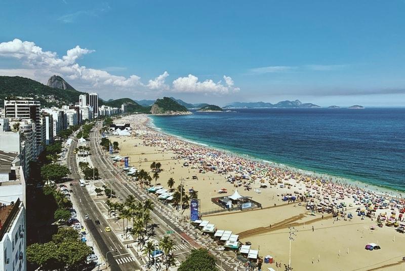 Rooftop view of Copacabana beach in Rio de Janeiro