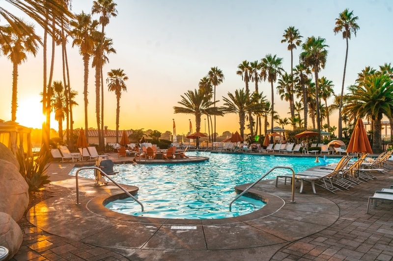 Sunset by pool area of a San Diego Hotel