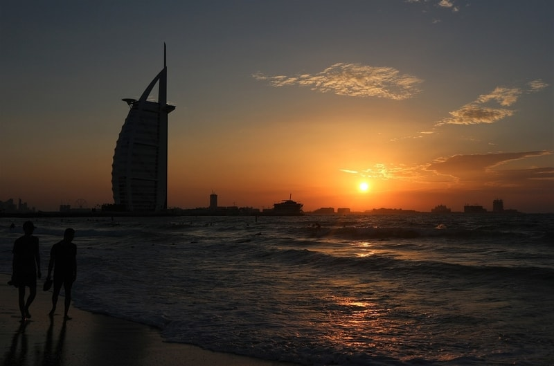 Sunset beach and Burj Al Arab in Dubai