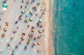 Birds eye view of umbrellas on the beach