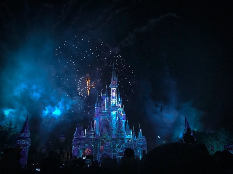 Fireworks behind the Disney Castle at the Disney World Theme Park at night