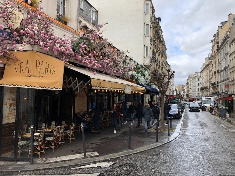 parisian cafe on street of paris france