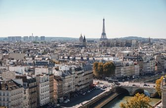 overview of city paris france with eiffel tower
