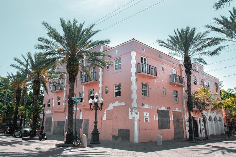 Pink building pictured in little Havana, Miami