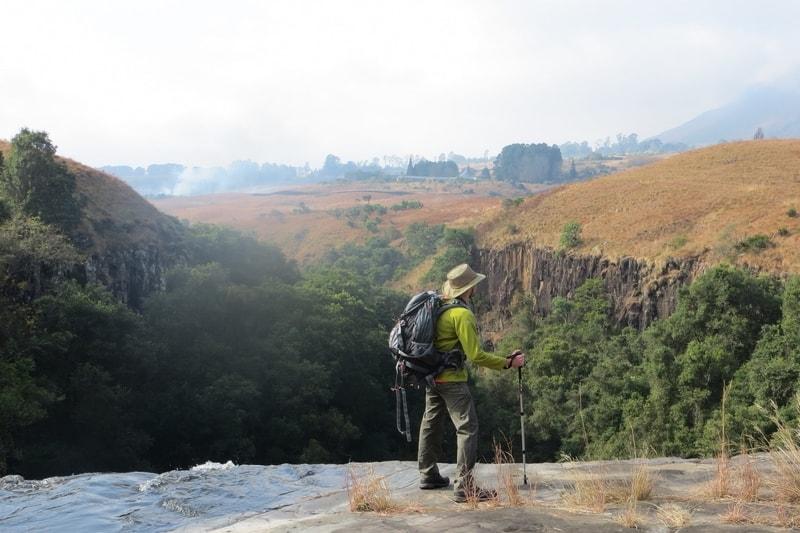 Traveler hiking at Drakensberg, South Africa