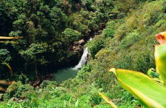Waterfall and mountain scenery in Maui