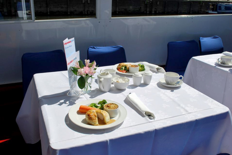 table layed on york river cruise