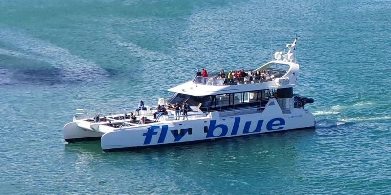 fly blue boat in malaga