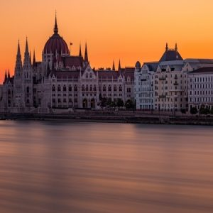Sunset overlooking Parliament building in Budapest Hungary