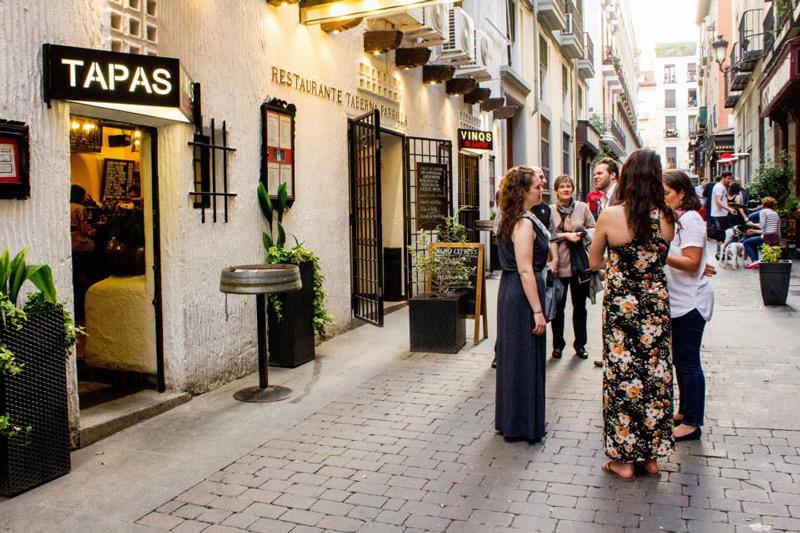 Busy tapas bar street in Madrid