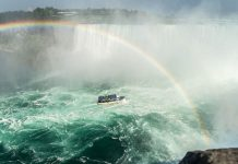 Niagara falls with boat and rainbow