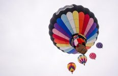 Below hot air balloons